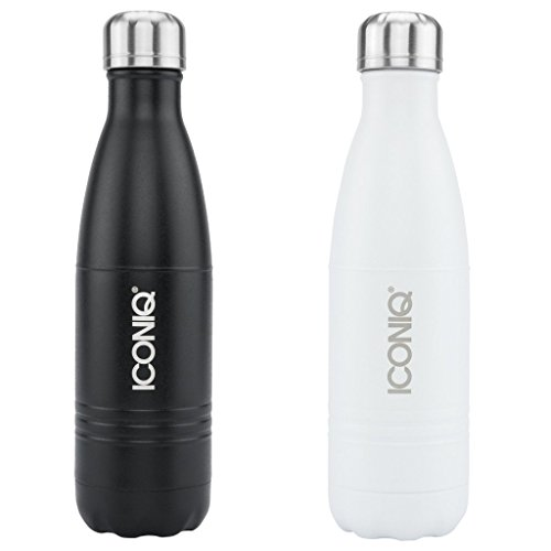 Dual Pack ICONIQ Stainless Steel Vacuum Insulated Water Bottle, 17oz + 17oz (Black/White)