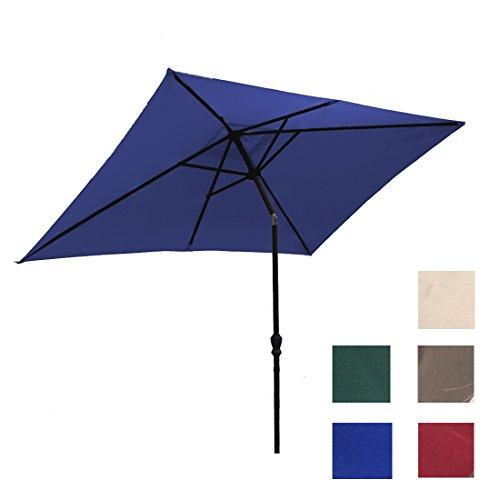Kosycosy 6.6X10 ft Rectangular Patio Umbrella Outdoor Market Umbrella Tilt Adjustment Crank Lift System, Perfect Outdoors & Patio (Blue)