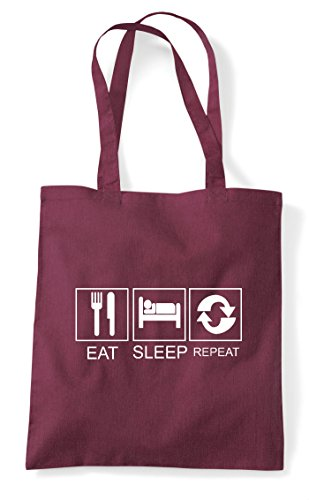 Tote Tiles Funny Repeat Eat Shopper Hobby Sleep Burgundy Activity Bag Oq6CY7wp