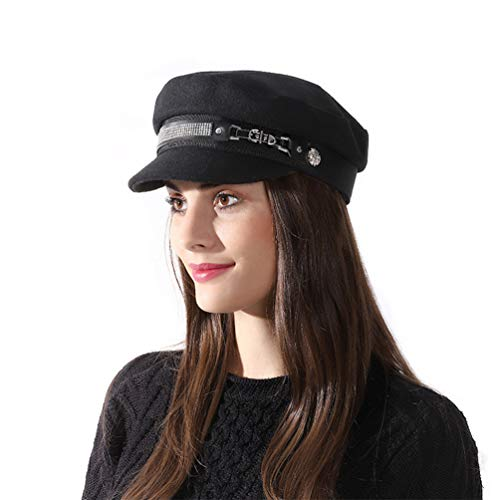Inconly Womens Newsboy Cap Cabbie Hat Women Winter Paperboy Cap Visor Beret (Black) -