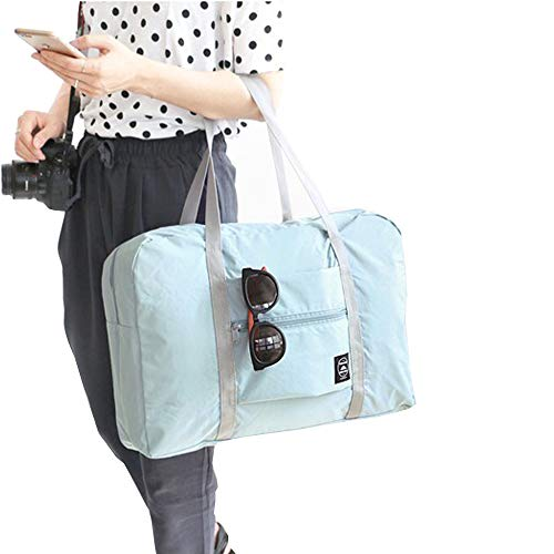 Women Men Foldable Travel Duffel Bag Luggage Sports Gym Water Resistant Nylon Carry-On Luggage Travel Totes Duffel Bag (Light Blue) by IFUNLE