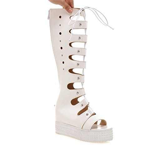 Cool In Spring And Summer And Women Boots,Cut Wedges Of Lace High Boots-white Foot length=21.8CM(8.6Inch)