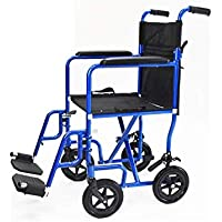 The Invacare Great Aluminum Transport Chair (Electric Blue) with spoked wheels, padded seating, vinyl arm supports, rear wheel locking, folding, lightweight wheelchair