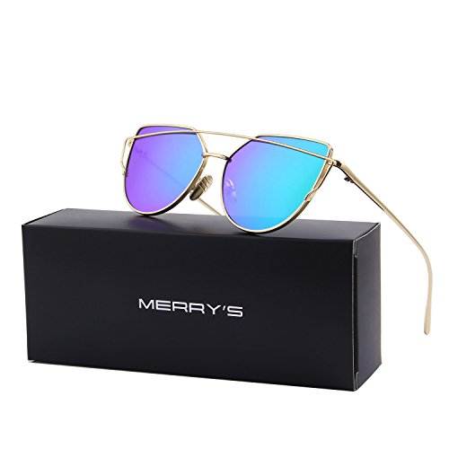MERRY'S Fashion Women Cat Eye Sunglasses Coating Mirror Lens Sun glasses UV400 S7882 (Gold&Green, - Rose Gold Aviators