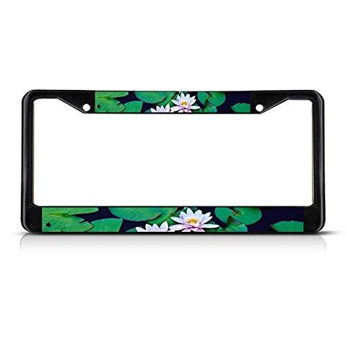- Elvira Jasper LILY PAD Flower Black Metal License Plate Frame Tag Border