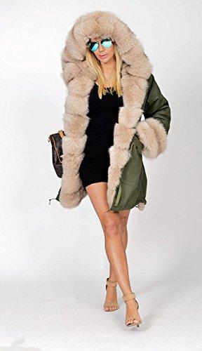 Chaqueta Mujer Calentar Outwear Moda Grande Abrigos Capucha Talla Parka Acolchado Con Chaquetas Encapuchado A Verde Ejercito Tomwell 1dXwxq7OX
