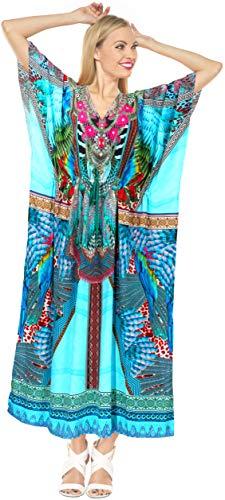 LA LEELA 3D PRINTED kaftan Beach Cover up Lounge caftan Multicolor_A791 14-22W