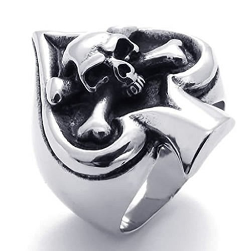 Mens Rings Stainless Steel Ace of Spades Gothic Skeleton Biker Tribe Retro Size 12 by Aienid
