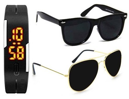 d6a848c9117f Image Unavailable. Image not available for. Colour  Unisex Uv Protected  Combo Pack of Golden Black Aviator Sunglasses and Matte Black Wayfarer ...