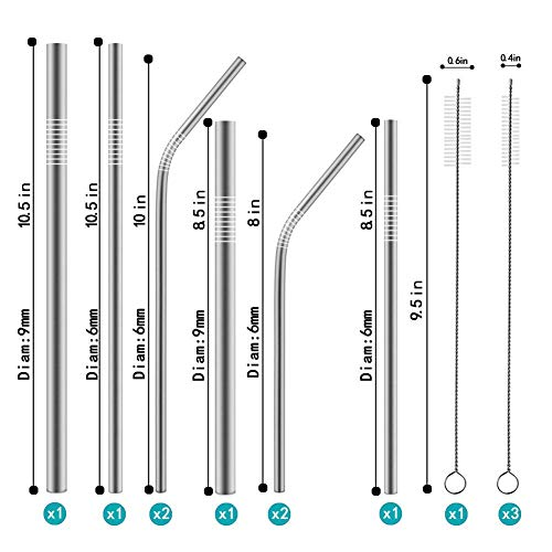Epartswide Reusable Straws 8 Pcs Full Variety Stainless Steel Straws and 4 Pcs Cleaning Brushes for 30oz 20oz Yeti Tumbler RTIC Tervis Ozark Trail Starbucks Mason Jar FDA Approved and BPA Free by Epartswide (Image #1)