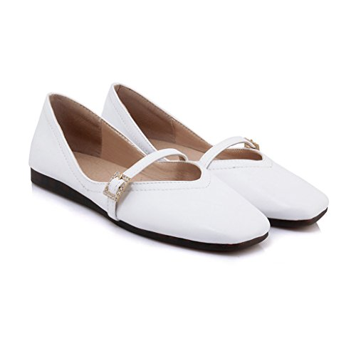 Chaussures pour Printemps Taille HWF Cuir Peas Femme Couleur Chaussures College Chaussures Chaussures femme 38 Femmes en Simples Blanc Flat Blanc wr14w