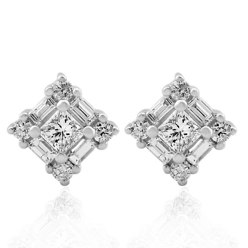 IGI Certified 14k White Gold Round, Baguette, Princess Cut Diamond Earrings Studs (1/2 (Baguette Cut Diamond Earrings)