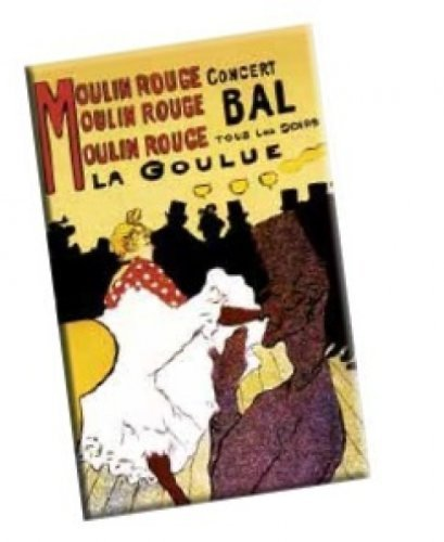 Fridolin 18322Art Nouveau Moulin Rouge Metal Magnet Multi-Coloured 8cm x 5.4x 0.3cm