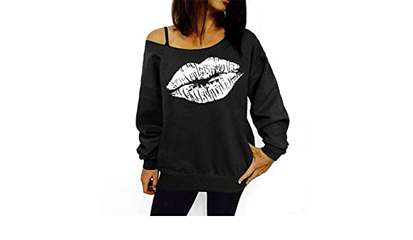 Global Spree Autumn Hoodies Plus Size Women Sweatshirts - Black and White Lips, M at Amazon Womens Clothing store:
