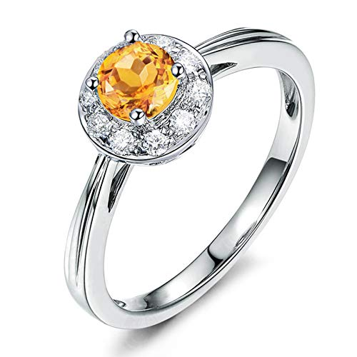 Daesar Promise Rings for Women Sterling Silver Rings Cubic Zirconia Rings Round Cut Yellow Citrine Ring Band Size 7.5
