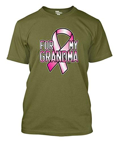 Tcombo Pink Ribbon For My Grandma - Breast Cancer Awareness Men's T-shirt (XL, Olive Green) (Pink Ribbon T-shirt Green)