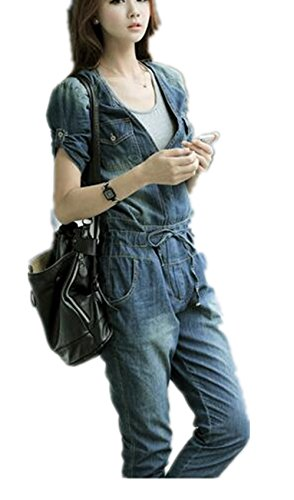 [Enlishop Women's Sexy Party Casual Jumpsuit Rompers Denim Overall Pants Blue] (Denim Romper Costume)