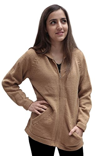 Hooded Alpaca Wool Knitted Jacket Hoodie Sweater Solid Color (Medium, (Alpaca Wool Sweater)