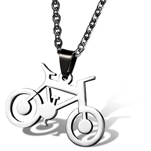 Flongo Stainless Bicycle Pendant Necklace