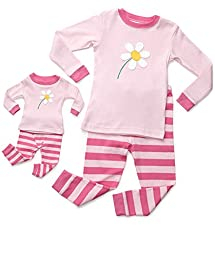 Leveret Matching Doll Flower 2 Piece Pajama 6 Years