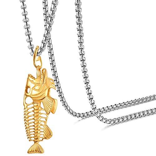 Fusamk Hip Hop Stainless Steel Skull Fish Bone Pendant Chain Necklace