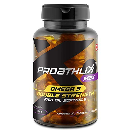 Proathlix Omega 3 Double Strength Fish Oil Capsules  1000mg fish oil with 330mg EPA   220mg DHA