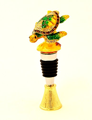 - Ciel Collectables Sea Turtle Trinket Box on Bottle Stopper, Hand Set Swarovski Crystal, Hand Painted Green Yellow Enamel