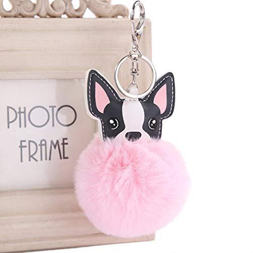 IEnkidu Cute Animal Shape with Hairball Key Chain Key Rings Bag Accessory Keyrings & Keychains from IEnkidu