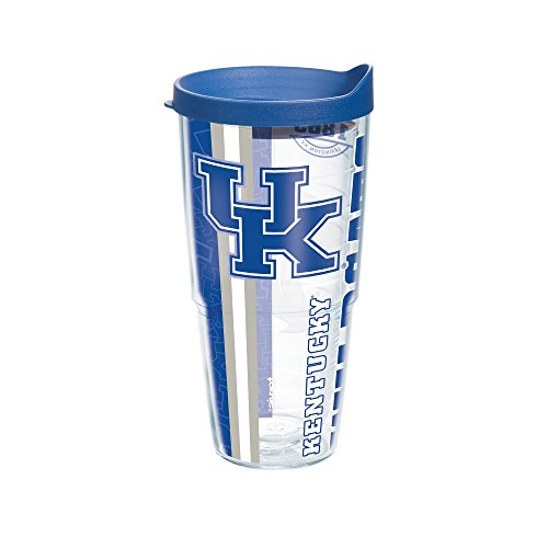 Tervis 1220749 Kentucky University College Pride Wrap Tumbler with Blue Lid, 24 oz, Clear
