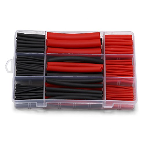 Ginsco 270Pcs 3:1 Shrink Ratio Dual Wall Adhesive Lined Heat Shrink Tubing Tube 6 Size 2 Color KIT Black ()
