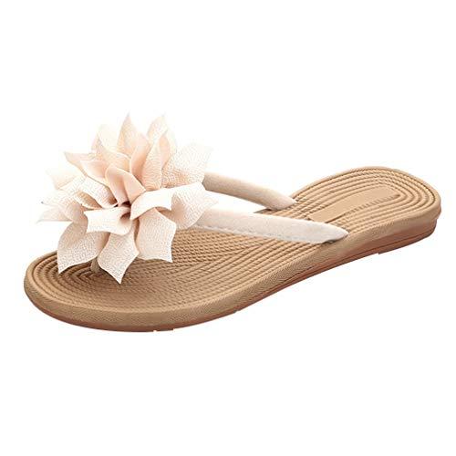 N.N.G Women Summer Flip Flops Big Flower Fashion Beach Sandals Under 20 Beige 8.5