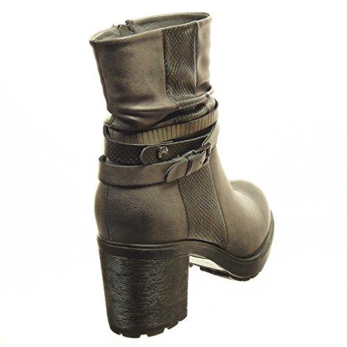 Angkorly - damen Schuhe Stiefeletten - Low boots - Plateauschuhe - Schlangenhaut - String Tanga - Schleife Blockabsatz high heel 7 CM Grau