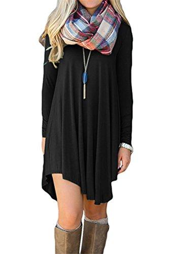 VOGRACE Womens Asymmetrical Long Sleeve Casual Swing Tunic Shirt Dress