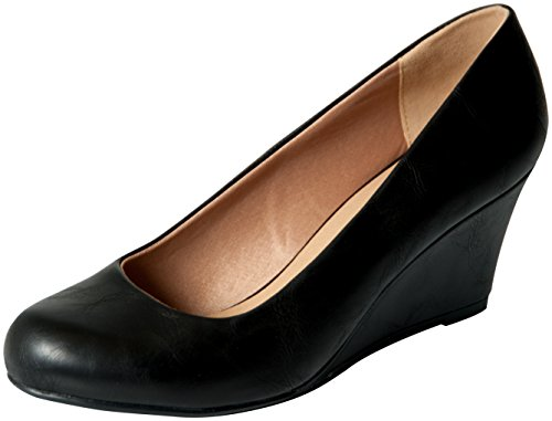 Black Leather Wedge Heel (Forever Link Women's DORIS-23 Faux Leather Mid Heel Round Toe Wedge Pumps Black 8.5)