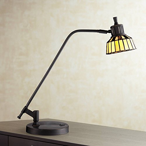 Rayna II Traditional Pharmacy Desk Table Lamp LED Dark Bronze Tiffany Style Art Glass Shade for Living Room Bedroom Bedside Nightstand Office - Robert Louis Tiffany