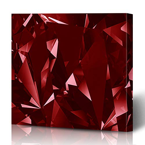 Ahawoso Canvas Prints Wall Art 12x16 Inches Blood Blue Gem Red Crystal Facet Abstract Ruby Stone Diamond Jewel Cut Black Precious Decor for Living Room Office Bedroom Blood Red Ruby Gem