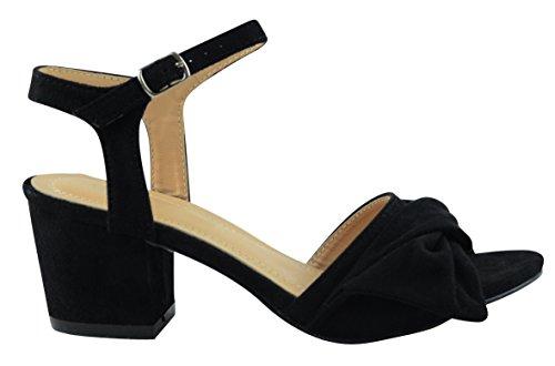 Cambridge Selezionare Donna Open Toe Fibbia Alla Caviglia Con Fibbia Torsione Nodo Arco Grosso Blocco Tacco Medio Sandalo Nero Imsu