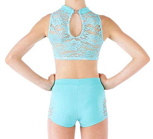 YiZYiF Kids Big Girls' 2 Piece Dance Outfit Unitards Sports Lace Turtle Neck Open Back Top with Shorts Sets Mint Green 8