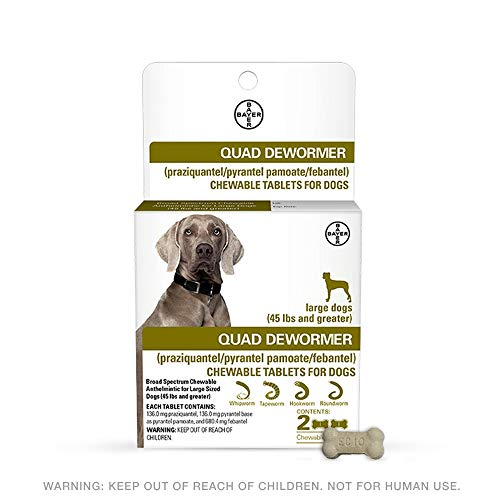 Bayer 136mg Large 45 lb + Dog 2 Count Quad Chewable Dewormer, 45 lb and Greater (Dogs 45 Tablets)