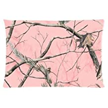 Pink Real Tree Camouflage Camo Pillowcase Zippered Pillow Case 20x30 Standard Size(Twin sides)