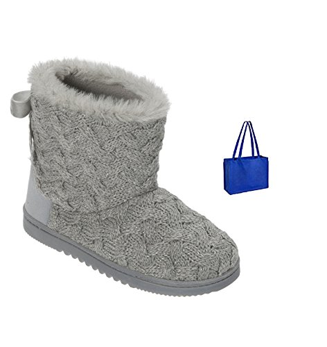(Dearfoams Lurex Basketweave Knit Boot and Gift Bag (Small, Light Heather Grey))