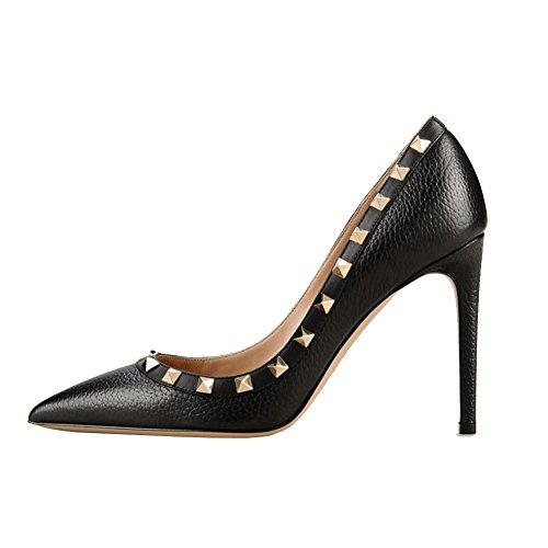 EKS Damen Fllosacf Patch Arbeitskante mit Nieten Stollen High Heels Pointed Toe Pumps Kleid Schuhe Plus Size EU 35-46 Schwarz-Linien