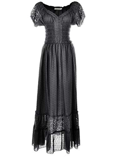 Anna-Kaci Renaissance Peasant Maiden Boho Inspired Cap Sleeve Lace Trim Dress, Grey, X-Large]()
