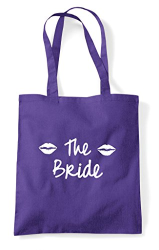 Party Shopper Lips Purple Tote Hen Do Bride Style Customised Bag Personalised 7azxRdw