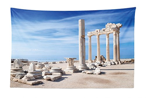 Lunarable Antique Tapestry, Ancient Greek Temple Clear Blue Sky Historical Place and Ruins Cultural Heritage, Fabric Wall Hanging Decor for Bedroom Living Room Dorm, 45 W X 30 L inches, Beige Blue -