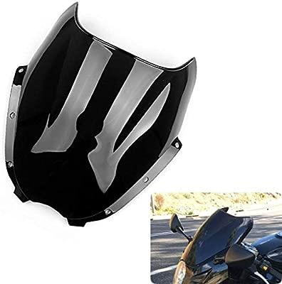 Motocicletta Doppia Protezione Dello Schermo Del Parabrezza Shield Vento Per Parabrezza Nero