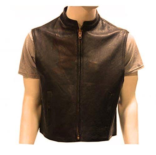 Naked Leather Motorcycle Biker Club Style Short Vest Black M (Black Naked Leather)
