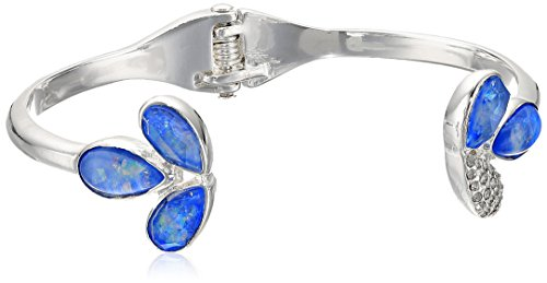 Kenneth Cole New York Power of The Flower Opal and Crystal Stone Open Hinge Cuff Bracelet