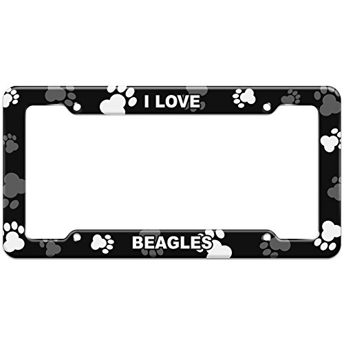 Paw Prints I Love Beagles License Plate Frame<br>Made of durable and light plastic