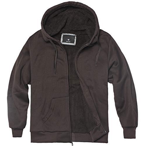 Solid Sherpa Lined Hoodie - Plus Size S - 5XL Fleece Hoodies for Men Heavyweight Full Zip Up Long Sleeve Solid Black Grey Zipper Sherpa Lined Jackets (Coffee, 5XL)